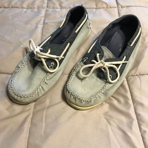 American Eagle Canvas Gray Boat Shoes, Size 11
